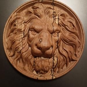 Faragott oroszlán  dombormű, Művészet, Szobor, Fa, Famegmunkálás, Sziasztok,\nKészítettem egy faragott oroszlánfej domborművet. Ajándéknak, ajtóra, falra vagy egyéb dí..., Meska