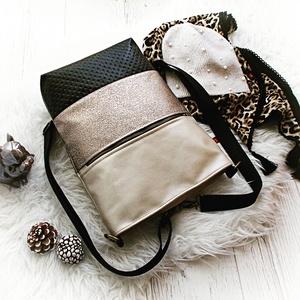 Wave 3 in1 hátizsák/válltáska, Táska & Tok, Variálható táska, Varrás, Háromfunkciós táskát készítettem beige gyöngyházfényű műbőrből,fényes bronz és fekete műbőrből.\nElej..., Meska