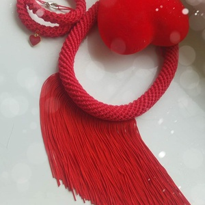 Piros horgolt rojtos ékszerszett , Ékszer, Ékszerszett, Ékszerkészítés, Horgolás, Közeledik a valentinnap  egy piros ékszernek mindenki örül. Főleg ha kézzel készült horgolt ékszert ..., Meska