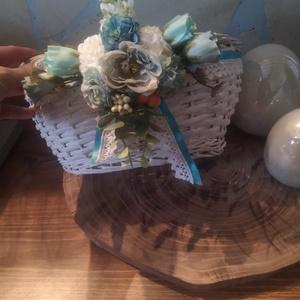 Virágos kosárka, Táska & Tok, Kosár, Virágkötés, Mindenmás, Sziasztok\nIndúlhat a bevásárlás anyával?\nEzzel a  kis kék virágos cuki kosárkával bisztos öröm lesz ..., Meska