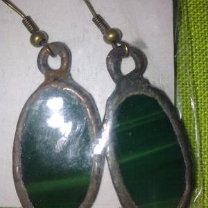 Üveg fülbevaló, Ékszer, Fülbevaló, Üvegművészet, Egyedi Tiffany technikával készült fülbevaló, anyagában színezett üvegből eladó.Mérete:3 cm..., Meska