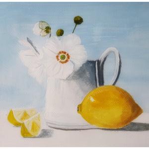 Csendélet citrommal, Otthon & lakás, Képzőművészet, Festmény, Akril, Festészet, 18cmx24cm akrillal festettem. \n4000 ft\nKerettel 5000 ft\nSzignózott, Meska