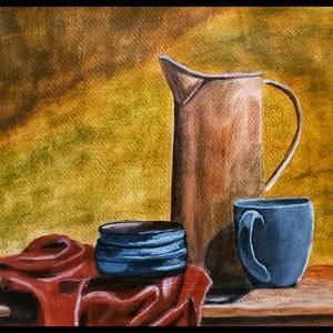 Csendélet, Otthon & lakás, Képzőművészet, Festmény, Akril, Festészet, 18 cm x 24 cm festmény, akrillal festettem.\n, Meska