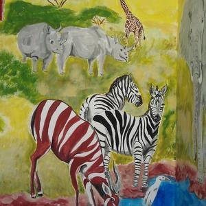 Szavanna falfestés , Művészet, Festmény vegyes technika, Festmény, Festészet, Fotó, grafika, rajz, illusztráció, Meska