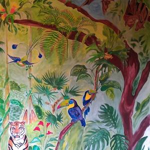 Dzsungel falfestés, Dekoráció, Otthon & lakás, Lakberendezés, Falikép, Gyerek & játék, Festészet, Falfestés: dzsungel 10.000 Ft/m2\n\nTeljes hátteres dzsungel festmény. \n\nKisfiam igazi állatbolond, ez..., Meska