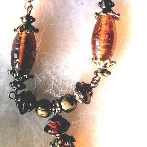 Amber - borostyánsárga nyaklánc  réz gyöngyökkel, Ékszer, Nyaklánc, Y nyaklánc, Ékszerkészítés, Meska