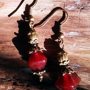 Rubinvörös romantikus  üveg fülönfüggő - ékszer - fülbevaló - lógó fülbevaló - Meska.hu