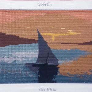 Vitorlás gobelin kép, Gobelin, Textil, Művészet, Hímzés, A kép gobelin technikával , balról jobbra dőlő őltéssel készült.\nA hímzés mérete :32 x 23 cm, a kana..., Meska