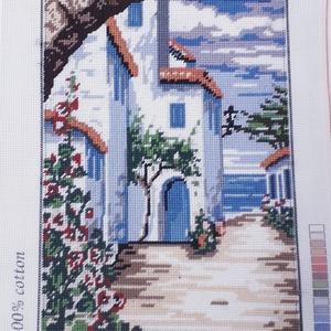 Görög utcarészlet gobelin kép, Otthon & lakás, Dekoráció, Gobelin, Hímzés, A kép gobelin technikával , balról jobbra dőlő őltéssel készült.\nA hímzés mérete :32 x 23 cm, a kana..., Meska