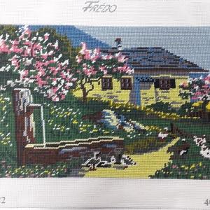 Sárga ház gobelin kép, Gobelin, Textil, Művészet, Hímzés, A kép gobelin technikával , balról jobbra dőlő őltéssel készült.\nA hímzés mérete :32 x 23 cm, a kana..., Meska