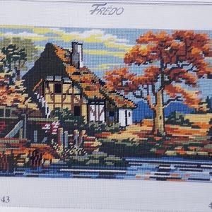 Vidéki ház gobelin kép, Gobelin, Textil, Művészet, Hímzés, A kép gobelin technikával , balról jobbra dőlő őltéssel készült.\nA hímzés mérete :32 x 23 cm, a kana..., Meska