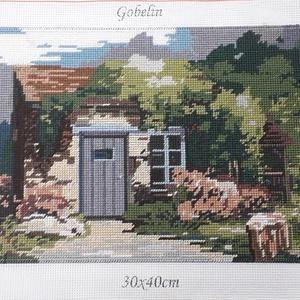 Kicsiház gobelin kép, Gobelin, Textil, Művészet, Hímzés, A kép gobelin technikával , balról jobbra dőlő őltéssel készült.\nA hímzés mérete :32 x 23 cm, a kana..., Meska