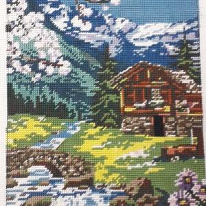 Tavaszi táj gobelin kép, Gobelin, Textil, Művészet, Hímzés, A kép gobelin technikával , balról jobbra dőlő őltéssel készült.\nA hímzés mérete :32 x 23 cm, a kana..., Meska