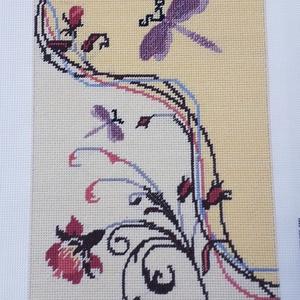 Szitakötő gobelin kép, Gobelin, Textil, Művészet, Hímzés, A kép gobelin technikával , balról jobbra dőlő őltéssel készült.\nA hímzés mérete :32 x 23 cm, a kana..., Meska