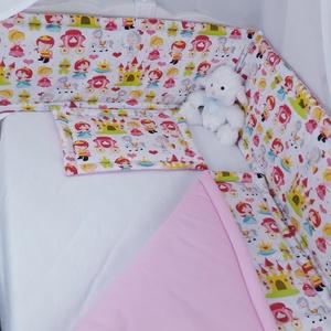 3 részes babaágyneműszett, Szett kiságyba, Lakástextil, Otthon & Lakás, Varrás, Minden ami hercegnő !\nBabagarnitúra tartalma: takaró: 70x90cm , lapos párna: 35x25cm ,rácsvédő: 30x1..., Meska
