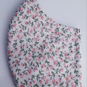 Szájmaszk,arcmaszk-Apró rózsaszín virágos, Maszk, Arcmaszk, Női, Több méretben rendelhetőek arcmaszkjaink, két rétegű pamut, beavatott, mosott, vasalt anyagból készü..., Meska