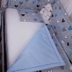 3 részes, kék Mickey baba szett, Rácsvédő & Baldachin, Lakástextil, Otthon & Lakás, Varrás, Igazán tündéri kék mickey baba szett,\n\nBabagarnitúra tartalma:  takaró: 70 x 90 cm, lapos párna: 25 ..., Meska