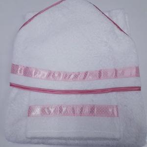 Kapucnis fürdőlepedő+kesztyű, fehér flottir - rózsaszín szegéllyel - 80 x 80 cm , Otthon & Lakás, Fürdőszoba, Törölköző, Kiváló minőségű 100% pamut flottirból készűlnek kifogóink, a baba fürdetés elengedhetetlen kelléke! ..., Meska