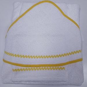 Kapucnis fürdőlepedő+kesztyű, fehér flottir - sárga szegéllyel - 80 x 80 cm , Otthon & Lakás, Fürdőszoba, Törölköző, Kiváló minőségű 100% pamut flottirból készűlnek kifogóink, a baba fürdetés elengedhetetlen kelléke! ..., Meska