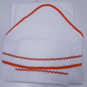 Kapucnis fürdőlepedő+kesztyű, fehér flottir - narancssárga szegéllyel - 80 x 80 cm , Otthon & Lakás, Fürdőszoba, Törölköző, Kiváló minőségű 100% pamut flottirból készűlnek kifogóink, a baba fürdetés elengedhetetlen kelléke! ..., Meska