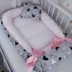 Babafészek - Rózsaszín Minni masnis, Otthon & Lakás, Lakástextil, Babafészek, Varrás, A babafészek kényelmes és biztonságos újszülött és néhány hónapos babák számára. A babafészek körülö..., Meska