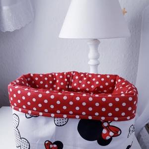 Textil tároló -piros pöttyös minni - otthon & lakás - tárolás & rendszerezés - játéktároló - Meska.hu
