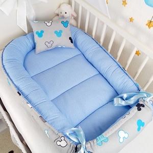 Kék mickey babafészek , Otthon & Lakás, Lakástextil, Babafészek, Varrás, A babafészek kényelmes és biztonságos újszülött és néhány hónapos babák számára. A babafészek körülö..., Meska