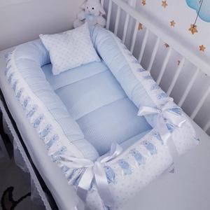 Babakék pöttyök és csíkok, csipkés babafészek - AKCIÓ!, Otthon & Lakás, Lakástextil, Babafészek, Varrás, A babafészek kényelmes és biztonságos újszülött és néhány hónapos babák számára. A babafészek körülö..., Meska