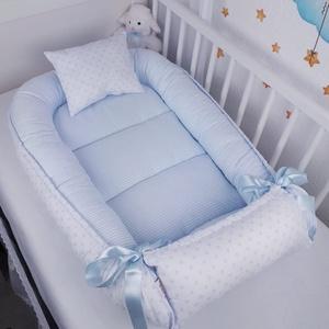 Babafészek - Babakék pöttyös,csikos, Otthon & Lakás, Lakástextil, Babafészek, Varrás, A babafészek kényelmes és biztonságos újszülött és néhány hónapos babák számára. A babafészek körülö..., Meska