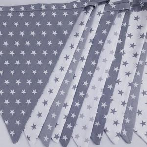 Zászlófüzér - szürke csillagos, Játék & Gyerek, Babalátogató ajándékcsomag, Vidám színfolt a gyerekszobában a kis zászlófüzér,de a nappalit is díszíthetjük vele.  Zászlócskák m..., Meska