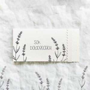 """Esküvői pénzátadó boríték, Egyéb, Esküvő, Meghívó, ültetőkártya, köszönőajándék, Nászajándék, Papírművészet, Varrás, LEVENDULÁS PÉNZÁTADÓ BORÍTÉK, VARROTT SZÉLEKKEL, """"SOK BOLDOGSÁGOT!"""" FELIRATTAL.\nA BORÍTÉK BELSEJÉBE ..., Meska"""
