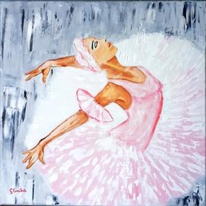 Rózsaszín ruhás balerina, Művészet, Festészet, Olaj festmény feszített vászonra festve, 40X40 cm-es, oldalán is festett,nem fontos bekeretezni.\nFől..., Meska