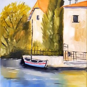 Mediterrán táj, Művészet, Festmény, Olajfestmény, Festészet, Olaj festmény, feszített vászon,30X40cm.\nSzép mediterrán táj csónakkal.\nKeretezni nem fontos,mert kö..., Meska