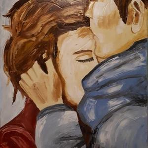 Csók, Művészet, Festmény, Olajfestmény, Festészet, Olajfestmény , feszített vászon, 40X50 cm.\nSzép olajfestmény ,érzéki csók :)\nHálószoba falára szép d..., Meska