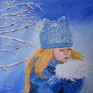 A tél öröme, Művészet, Festmény, Olajfestmény, Festészet, Olajfestmény feszített vásznon,40X40cm.\nKedves téli kép.\nGyerekszobába ajánlom,egy kislány részére:)..., Meska