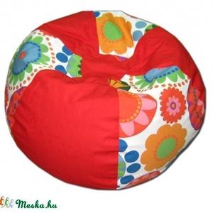Piros-virágos gömböc babzsákfotel gyerekeknek, Bútor, Otthon & lakás, Babzsák, Varrás, Nagyon mutatós babzsi, 6 cikkes gömböc formájú.\nDupla huzatos, belül is erős anyagból készült, utánt..., Meska