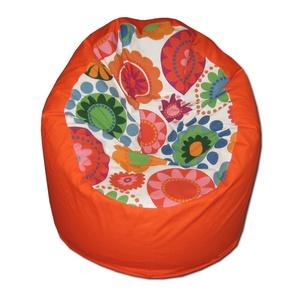 Virágos-narancs babzsák felnőtt, Bútor, Otthon & lakás, Lakberendezés, Egyéb, Babzsák, Varrás, Varázslatos színek, felülmúlhatatlan kényelem.\r\nFotel fazonú babzsi, mely kiterítve pocolásra is rem..., Meska