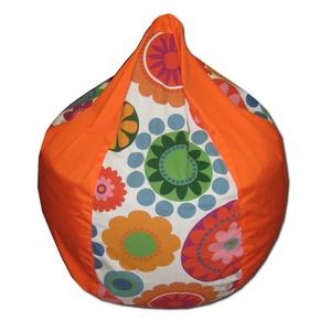 Narancs-virágos csepp babzsák gyerekeknek, Bútor, Otthon & lakás, Lakberendezés, Babzsák, Varrás, Csepp alakú, hat cikkből álló fotel, kisebb méretben.\n9-10 éves korig ajánlom, nagyon kényelmes fazo..., Meska
