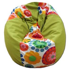 Kiwizöld-virágos csepp alakú babzsák felnőtt, Bútor, Otthon & lakás, Lakberendezés, Babzsák, Varrás, Csepp alakú, hat cikkből álló fotel, extra minőségű textilből,  felnőtteknek és gyerekeknek egyaránt..., Meska