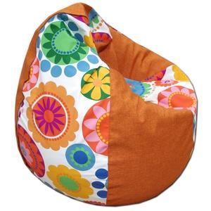 Narancs-virágos csepp alakú babzsák felnőtt, Bútor, Otthon & lakás, Lakberendezés, Babzsák, Varrás, Csepp alakú, hat cikkből álló fotel, extra minőségű textilből,  felnőtteknek és gyerekeknek egyaránt..., Meska