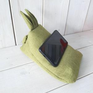 Telefontartó mini nyuszis babzsák zöld, Laptop & Tablettartó, Táska & Tok, Varrás, Mini babzsák mobiltelefonodnak, tabletednek, a kényelmesebb használatért, megbolondítva egy kis nyus..., Meska