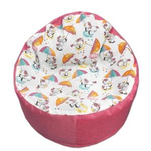 Babzsákfotel gyerekeknek kagyló pink-unikornis, Otthon & lakás, Bútor, Lakberendezés, Babzsák, Varrás, Az apróságoknak terveztem ezt a babzsák fazont, alacsony ülőmagassága miatt könnyen bele tudnak hupp..., Meska