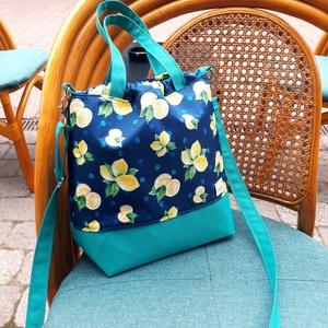 Kék-citromos oldaltáska, Táska & Tok, Varrás, Rosie táskáim megállják a helyüket a mindennapokban is, de kialakításának köszönhetően nagyon jók k..., Meska