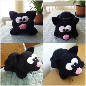 Horgolt fekete cica, Cica, Plüssállat & Játékfigura, Játék & Gyerek, Horgolás, Horgolt amigurumi technikával készült fekete cica. Mérete: 25x15x10 cm. Bármilyen színben, mintával ..., Meska