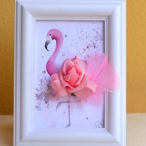 3D flamingós álló kép, Gyerek & játék, Gyerekszoba, Képkeret, Esküvő, Nászajándék, Otthon & lakás, Dekoráció, Kép, Festészet, Festett tárgyak, Szeretem az összetett, és a szokásostól eltérő megoldásokat, ez ihlette hogy 3 dimenziós képeket kés..., Meska
