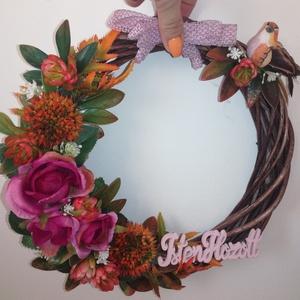 Őszi virágos kopogtató, Otthon & lakás, Dekoráció, Dísz, Lakberendezés, Ajtódísz, kopogtató, Koszorú, Virágkötés, Kb. 25 cm-es koszorút díszítettem őszies színvilágú virágokkal, levelekkel és madárral., Meska