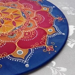 Napkorong mandala (30 cm átmérőjű), Otthon & Lakás, Dekoráció, Mandala, Festett tárgyak, 30 cm átmérőjű vászonra festett mandalakép\nA mandalák színeikkel, ismétlődő koncentrikus mintáikkal,..., Meska