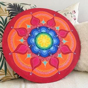 Mexikói nap mandala (50 cm), Otthon & Lakás, Dekoráció, Mandala, Festett tárgyak, 50 cm-es vászonra festett mandala  a májusi esők után felbukkanó gyönyörű szivárvány színeiben.\nEgye..., Meska