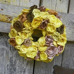 Rózsa neked-ajtódísz,falidísz,koszorú,kopogtató, Otthon & lakás, Dekoráció, Dísz, Lakberendezés, Koszorú, Ajtódísz, kopogtató, Papírművészet, Virágkötés, Saját készítésű papírvirágokból készült ez a koszorú.( barna:világos batikolt, sötét szin,ill. sárga..., Meska