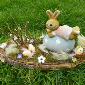 Nyuszis-tojásos húsvéti-egyedi asztaldísz - Meska.hu